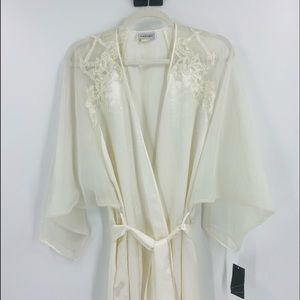 Vintage Natori Off White Sheer Maxi Robe